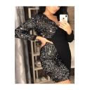 Black Plunge Neck Long Sleeve Patchwork Sequined Embellished Split Front Mini Asymmetric Pencil Dress