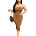 Khaki Off the Shoulder Sleeveless Geometric Print Midi Bodycon Dress