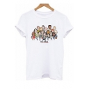 Women's Lovely THE OFFICE Letter Cartoon Printed Round Neck Short Sleeve White Graphic T-Shirt