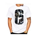 Men's Trendy Fashion Number 6 Pattern Short Sleeve Round Neck Basic White Modal T-Shirt