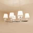 6/8 Lights Tapered Shade Island Fixture Contemporary Metal Fabric Hanging Light in Chrome for Living Room