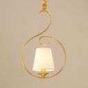 1 Light Tapered Shade Hanging Light Traditional Metal Fabric Suspension Light in Brass for Study Room