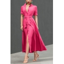 Fashion Sexy Plunge Neck Short Sleeve Plain Bow-Tied Waist Split Hem Button Midi A-Line Rose Red Dress