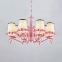Fabric Tapered Shade Chandelier with Flower Decoration 8 Lights Pink Hanging Light for Living Room