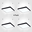 1/4 Pack Black/Silver LED Pendant Light Slim Panel Square Aluminum Suspension Light for Library