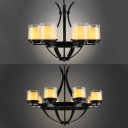 Flameless Candle Cafe Chandelier Metal 6/8 Lights Traditional Suspension Lamp in Black