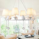 Fabric Tapered Shade Chandelier with Bird & Crystal 3/6/8 Lights Traditional Suspension Light in White