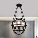 Black Oval Cage Pendant Lamp 4 Lights American Rustic Metal Chandelier for Dining Room