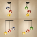 Metal Globe Cage Pendant Light Kitchen 3 Lights Creative Linear/Round Canopy Suspension Light