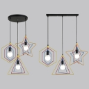 Dining Room Wire Frame Pendant Light Metal 3 Lights Industrial Black Ceiling Lamp with Linear/Round Canopy