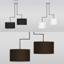 Black/Coffee/White Drum Chandelier 2 Lights Simple Style Fabric Hanging Lamp for Living Room