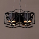 Shop Cafe Tapered Shade Hanging Lamp Metal 5 Lights Industrial Black Chandelier with Cage