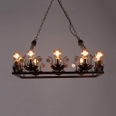 Rustic Style Open Bulb Chandelier 10 Lights Metal Ceiling Light in Rust for Bar Restaurant