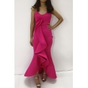 Women's Fashion Sexy V-Neck Sleeveless Plain Ruffle Hem Maxi Asymmetric Rose Red Dress