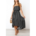 Summer Fashion Square Neck Bow Sleeveless Printed Ruffle Hem Midi Beach Boho Dress