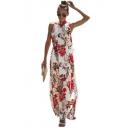 Women's Stylish Halter Neck Sleeveless Floral Printed Split Hem Maxi Swing Dress