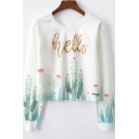 Hello Letter Cactus Printed Round Neck Long Sleeve White Cropped Sweatshirt