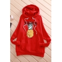 PINEAPPLE Letter Printed Drawstring Hood Long Sleeve Oversized Pocket Hoodie