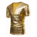 Men's Trendy Hollow Out V-Neck Short Sleeve Simple Plain Metallic Color Slim Fitted T-Shirt