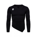 Men's Unique Simple Logo Printed V-Neck Long Sleeve Asymmetrical Hem Slim T-Shirt