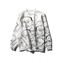 Cool Abstract Human Figure Face Printed Basic Crewneck Long Sleeve White Sweatshirt