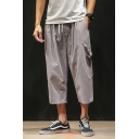 Men's Summer Basic Solid Color Drawstring Waist Cropped Cotton Loose Pants