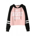 Trendy Letter ME SARCASTIC NEVER Print Striped Long Sleeve Relaxed Drawstring Hoodie