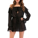 Womens Black Sexy Cutout Front Off the Shoulder Long Sleeve Sheer Chiffon Mini A-Line Dress