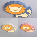 Acrylic Lion LED Flush Light Lovely Blue/Pink/White Ceiling Light in Warm/White for Kindergarten