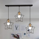 Industrial Star Cage Suspension Light 3 Lights Metal Pendant Lamp in Black for Kid Bedroom