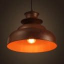 Antique Rust LED Pendant Light Double Double Bubble 1 Light Metal Ceiling Pendant for Restaurant