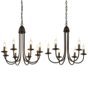 Colonial Style Black Pendant Lamp Flameless Candle 6/8 Lights Metal Chandelier for Study Room
