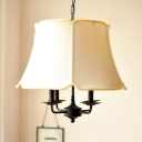 4 Lights Bell Shade Chandelier Contemporary Fabric Pendant Lamp in White for Living Room Balcony