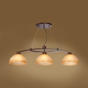 3 Lights Bowl Pendant Light Vintage Style Frosted Glass Island Light in Beige for Restaurant