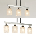 Lattice Glass Cylinder Hanging Light 3 /4 Lights Traditional Suspension Light in Chrome for Dining Room