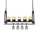 Black Cylinder Hanging Light 10 Lights Industrial Metal Island Fixture with Wine Bottle for Cafe