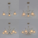 Bell Study Room Chandelier Metal 3/5/6/8 Lights Vintage Style Ceiling Pendant in White