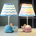 Cartoon Blue/Pink Desk Lamp Dolphin Mermaid 1 Light Dimmable Resin Study Room for Boy Girl Bedroom