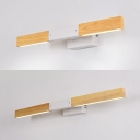 Waterproof Linear LED Vanity Light Wood Antifogging Beige Wall Lamp with White Lighting for Mirror