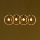 Restaurant Ring Pendant Lamp Rope Metal 4 Lights Vintage Style Beige Suspension Light