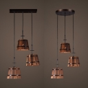 Vintage Barrel Pendant Light with Linear/Round Canopy 3 Lights Wood Hanging Light in Brown for Bar