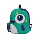 Funny Cartoon Dinosaur Pattern Green Canvas Backpack for Girls 38*29*11 CM