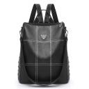 Big Capacity Fashion Metal Print Rivet Embellishment Black PU Leather Shoulder Bag Backpack for Girls 34*31*9 CM