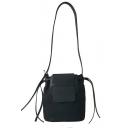 Minimalist Solid Color Canvas Drawstring Crossbody Bucket Bag 20*10*22 CM