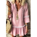 Summer Trendy Polka Dot Printed Three-Quarter Sleeve V-Neck Pompom Hem Pink Mini Dress