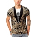 Cool 3D Printed Fake Two-Piece Blazer Skull Pattern Short Sleeve Fitted T-Shirt