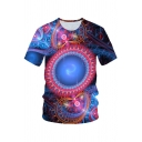 New Trendy Blue 3D Pattern Basic Round Neck Short Sleeve Classic Fit Tee