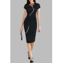 Womens New Stylish Solid Color Round Neck Short Sleeve Mesh Panel Midi Pencil Dress