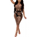 Womens Sexy Sleeveless Cutout Waist Night Club Bodycon Sequined Dress