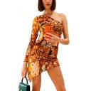 Summer New Stylish Fashion Printed One Shoulder Long Sleeve Mini Bodycon Asymmetrical Dress